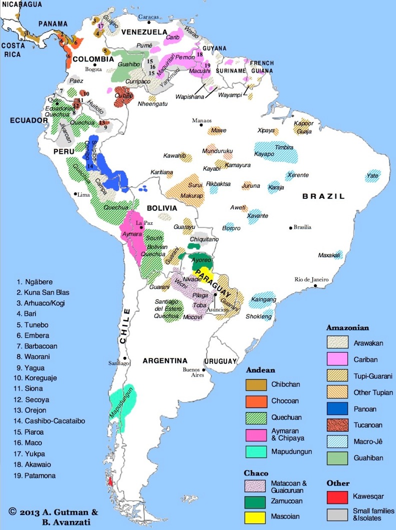Indigenous Languages Distribution – Map of South America, Panama and Costa Rica